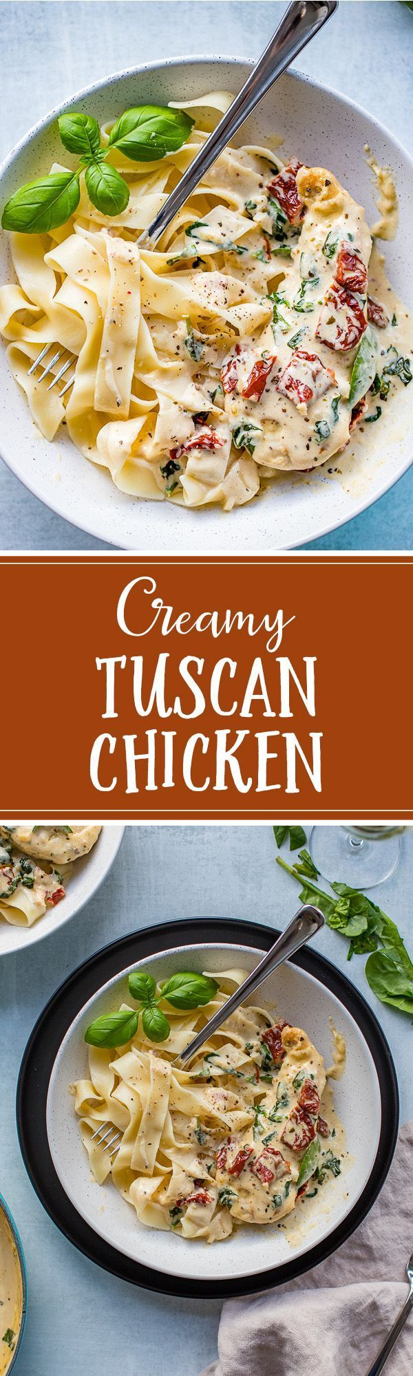 Creamy Tuscan chicken recipe with fresh garlic, spinach, and sun-dried tomatoes is as easy as it is delicious, and as perfect for busy weeknights as it is for entertaining.