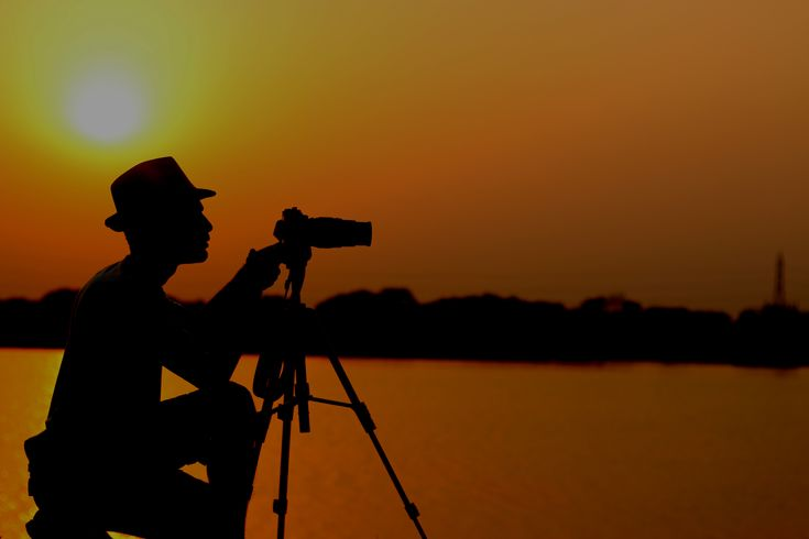 Film director Borhan Khan. Sunset time shadow.
