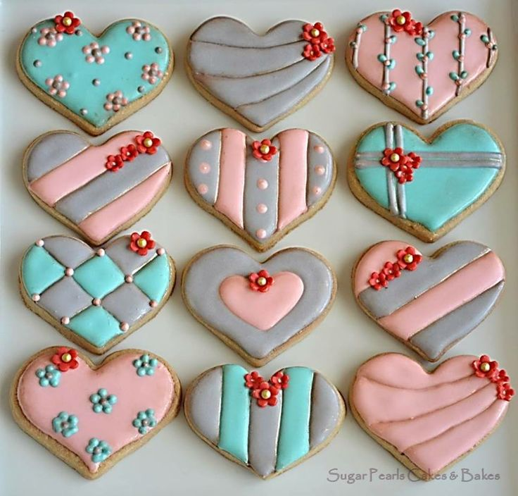 Heart cookies~ By Sugar Pearls, Pink, Turquoise, Grey, Quilt