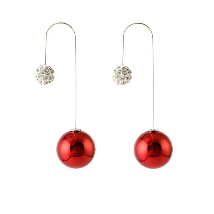 New Hot Sale Ball Earrings Boucle d'oreille Candy Colors Long Doubled Side Earring Stud Jewelry For Women Pierced Ear