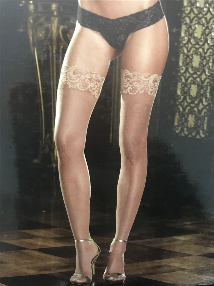 Nude coloured thigh high stockings (lace top stay ups)