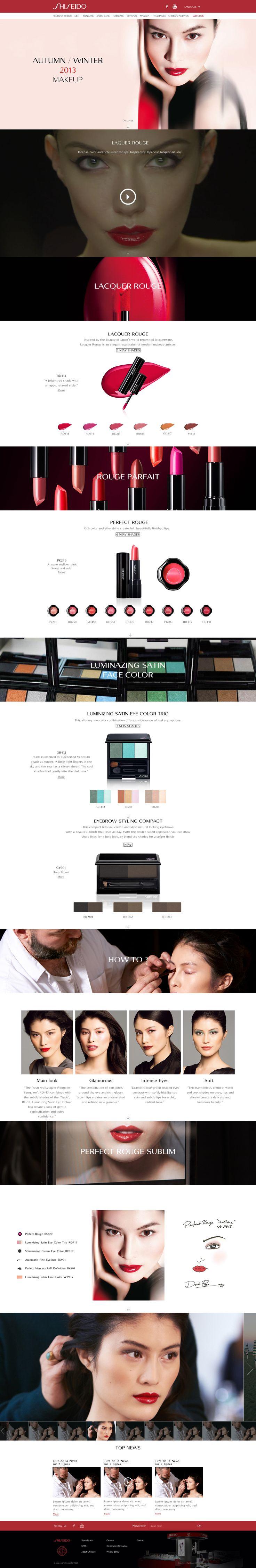 """Direction Artistique & Création d'un mini-site """"Makeup"""" en Responsive Design avec Parallaxe pour la marque """"Shiseido"""". #WebDesign #Luxe #UX Design"""