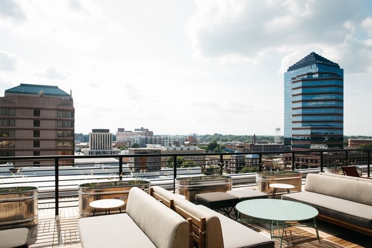 Rooftop bar of The Durham Hotel in downtown Durham, NC.