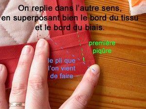 Pas à pas : poser un biais en angle. J'adore que je comprends un petit peu de Francais!