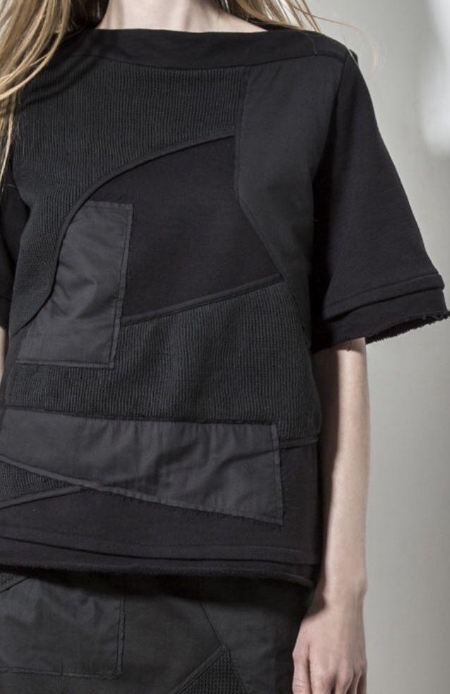 Black patchwork sweatshirt with graphic panels; contemporary fashion details // Alexandre Plokhov SS16