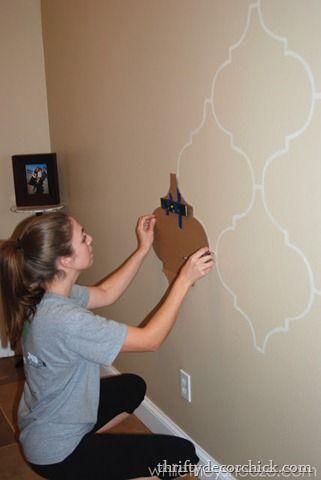 Cardboard wall stencil.
