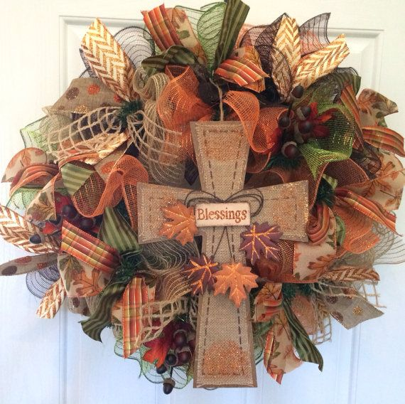 Fall deco mesh wreath, Fall mesh wreath with cross in center, Autumn wreath, front door wreath on Etsy,
