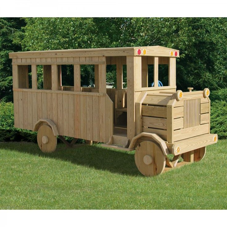 Amish Made 14x4 ft Wooden School Bus Playground Set