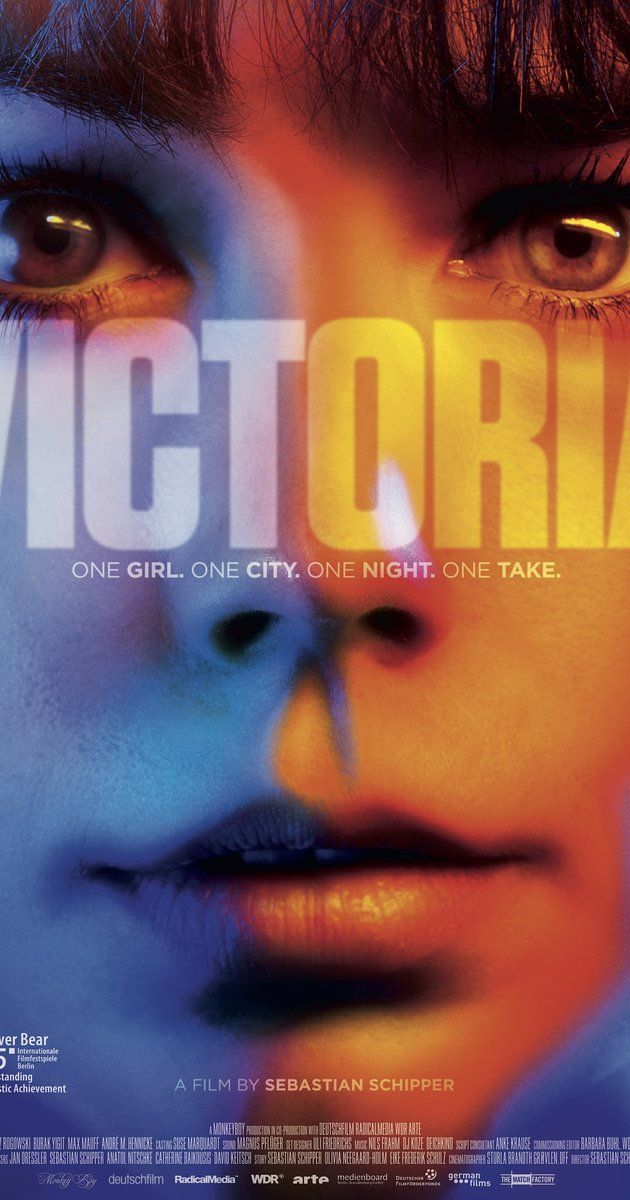 Directed by Sebastian Schipper.  With Laia Costa, Frederick Lau, Franz Rogowski, Burak Yigit. A movie shot in a single take about Victoria, a runaway party girl, who's asked by three friendly men to join them as they hit the town. Their wild night of partying turns into a bank robbery.