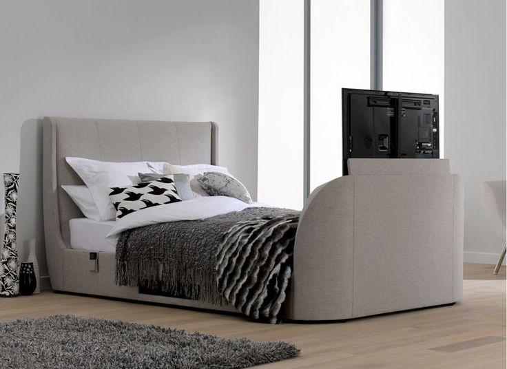 Titanium T3 Oatmeal Fabric Upholstered Samsung LED TV Bed Frame