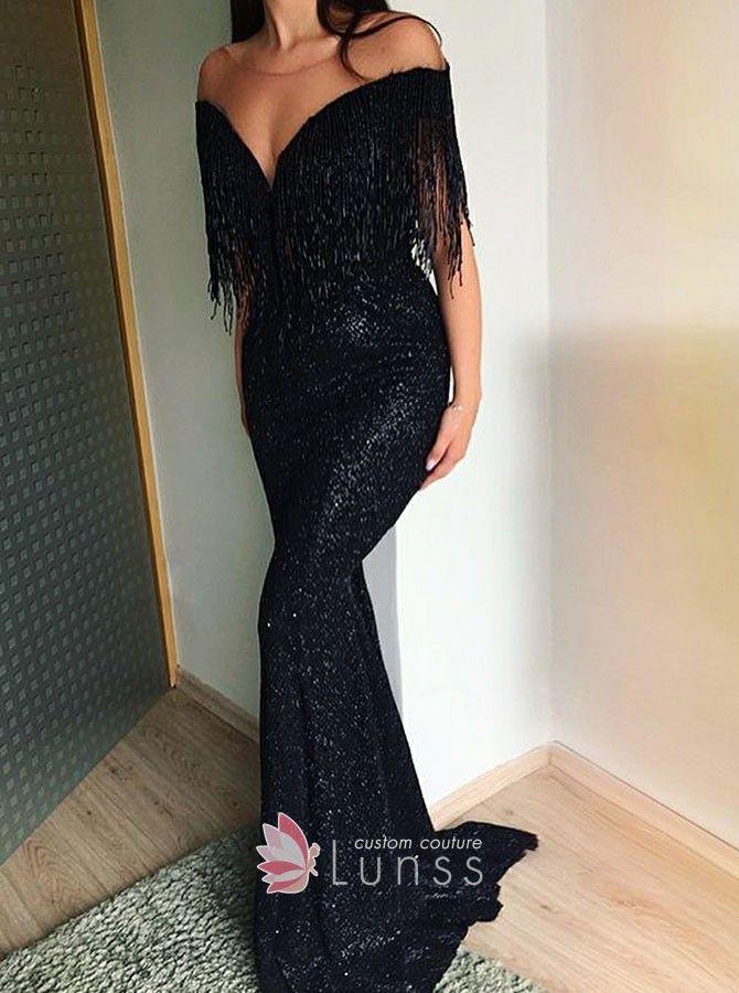 d0d3410a62 Black sequin mermaid prom dress with tassel off-the-shoulder V neckline.  Tassels decorated off-the-shoulder black mermaid long prom dress.