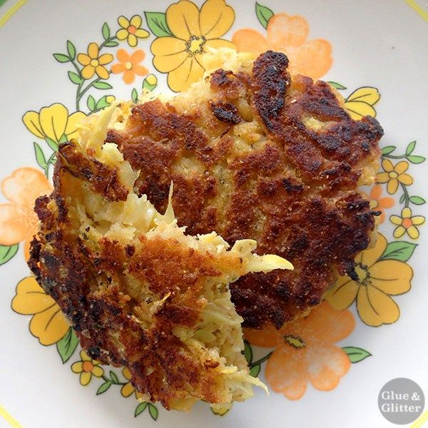 """You can make these veggie """"crab cakes"""" with zucchini or yellow summer squash."""