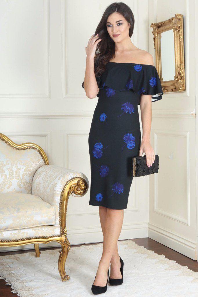 Mia Indigo Floral Ruffle Off the Shoulder Dress