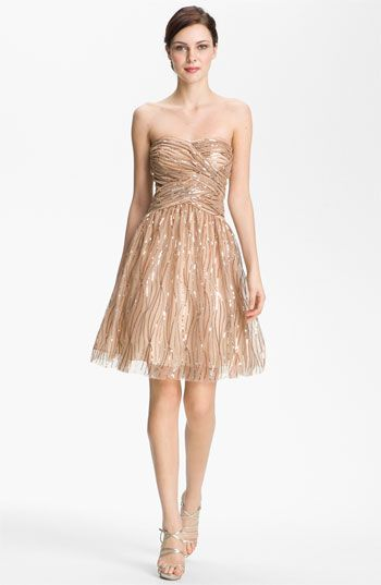 NEW HAILEY by ADRIANNA PAPELL Strapless Sequined Mesh DRESS SIZE 10 GOLD