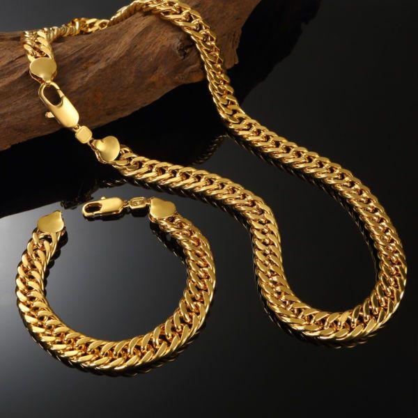 Luxus Herren Gold Kette Armband Set 24K Panzerkette 999er Gold vergoldet 60cm