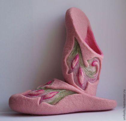 """Обувь ручной работы. Ярмарка Мастеров - ручная работа Валяные тапочки """"Spring Watercolor"""". Handmade."""