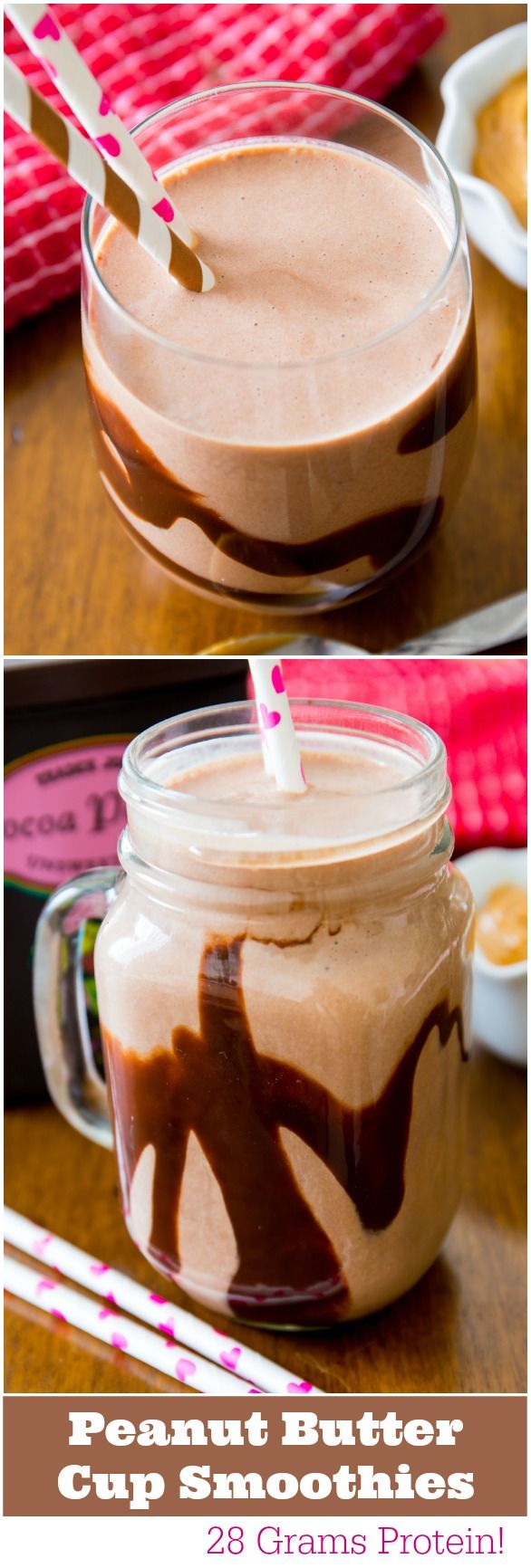 Deliciously simple Chocolate Peanut Butter Protein Smoothies - 28 grams of protein - and they taste like peanut butter cups!