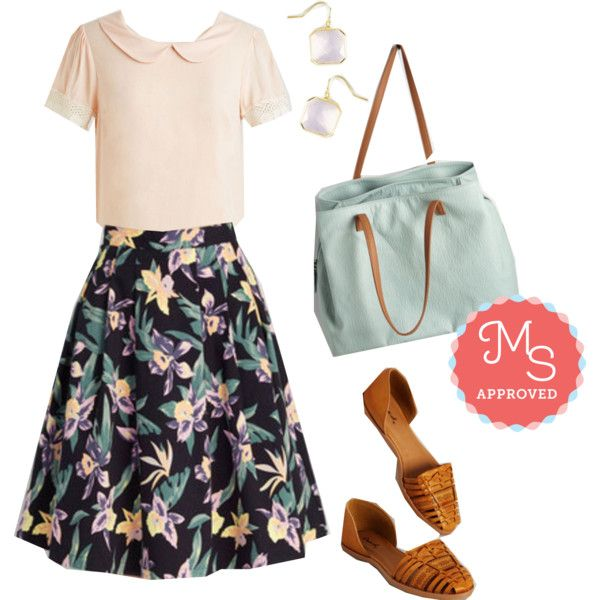 It's a Done Daffodil Skirt by modcloth on Polyvore featuring Pink Martini, floral, Pink, modcloth, springwear and modstylist
