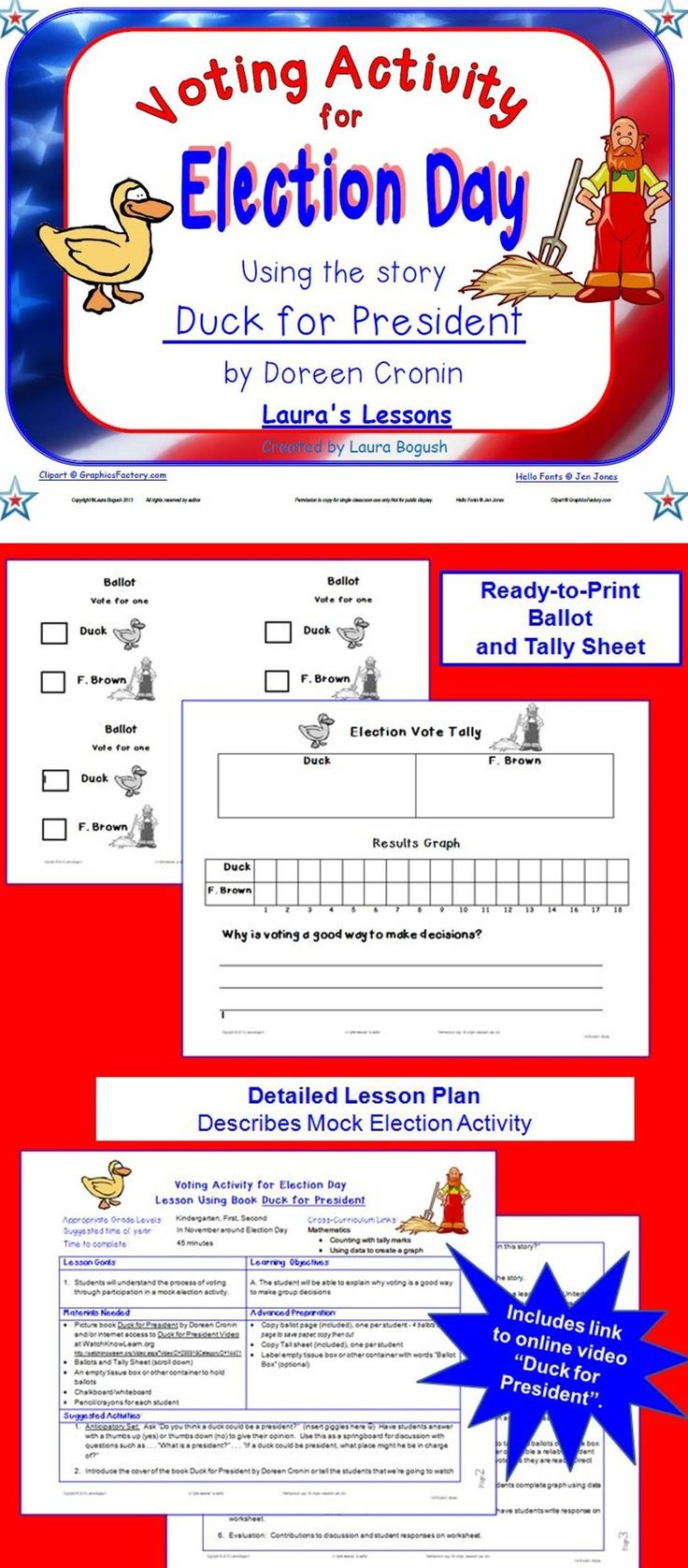Ready to use! Duck for President voting activity for election day. Includes link to an online video of the book Duck for President with activity printables and detailed lesson plan . $
