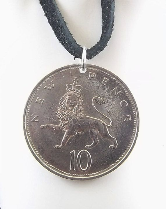Lion Coin Necklace England 10 Pence Coin by AutumnWindsJewelry