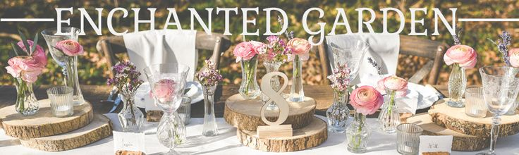 ENCHANTED GARDEN WEDDING DECORATIONS FOR SALE CRYSTAL PRESSED GLASS VASES WOODEN TREE STUMPS WOOD SLICES.jpg