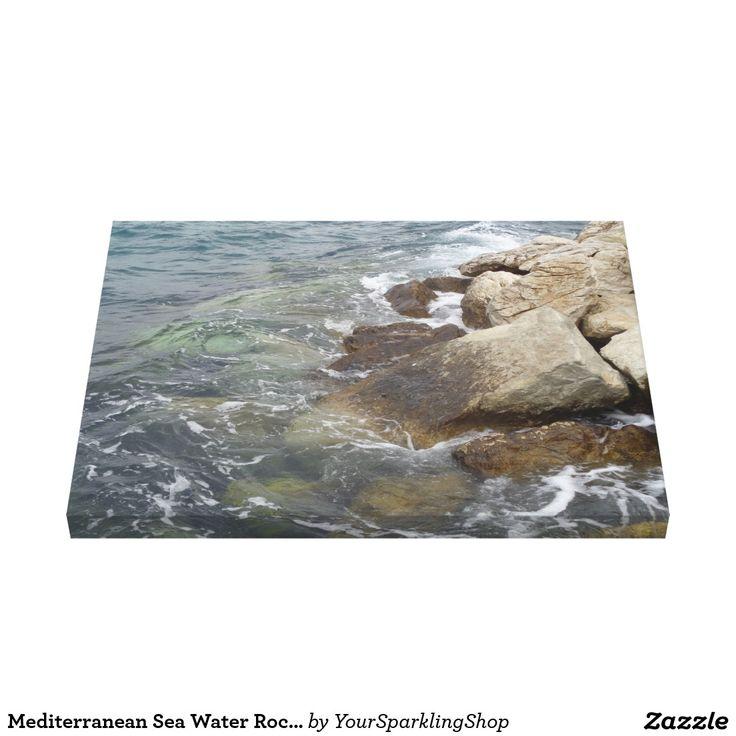 Mediterranean Sea Water Rocks Coast Photography Canvas
