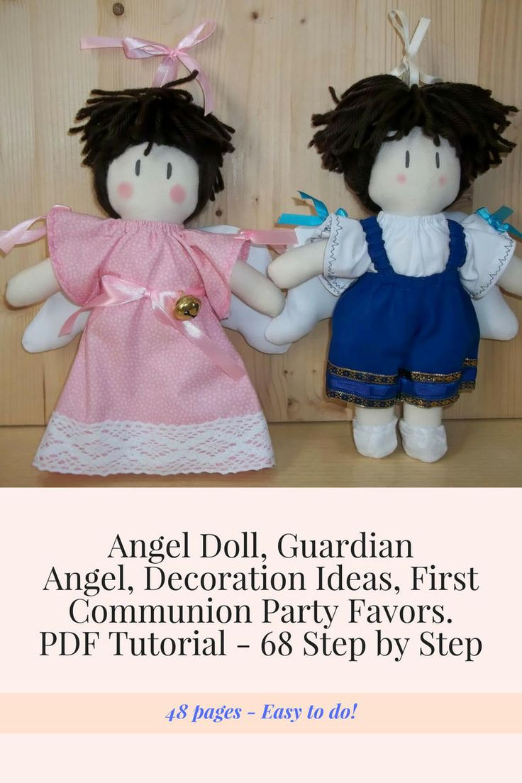 Angel Dolls, Decoration ideas, First Party Favors, Cloth Doll Angel Sewing Pattern & Tutorial,  PDF DIY by Rosselladolls on Etsy