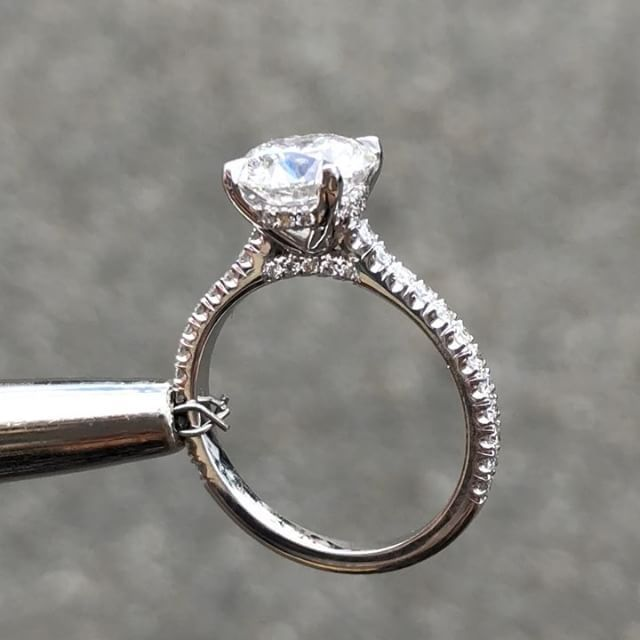 291b5086b 1.72 round brilliant diamond G Color / VS1 Clarity Cathedral setting with  an under halo & a diamond bridge