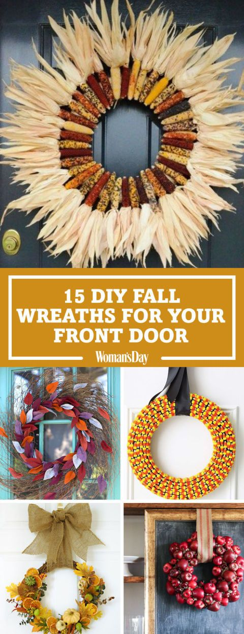 Celebrate the season with these easy front door decorations. These are the easiest and prettiest fall decorating ideas featuring leaves, candy corn, apples, Indian corn, and more.