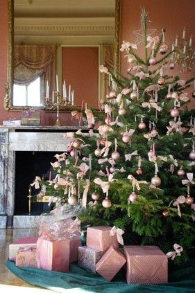 Pink christmas Trees - I like this one because I like the subtle pink and the delicate placement of the ornaments. - #christmas #tree