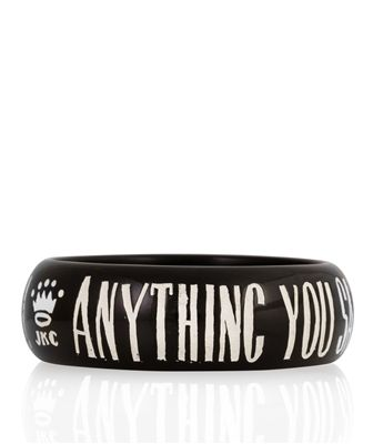 """JESSICA KAGAN CUSHMAN """"Anything you say will be held against you"""" Bangle Bracelet in Black"""