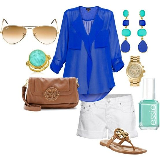 So summeryColors Combos, Fashion, Style, Clothing, Shirts, Tory Burch, Summer Outfits, Shorts, Royal Blue