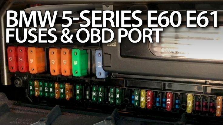 Where are cabin #fuses and #OBD2 port in #BMW #E60 #E61 5-series, #maintenance #cars #service #diagnostics