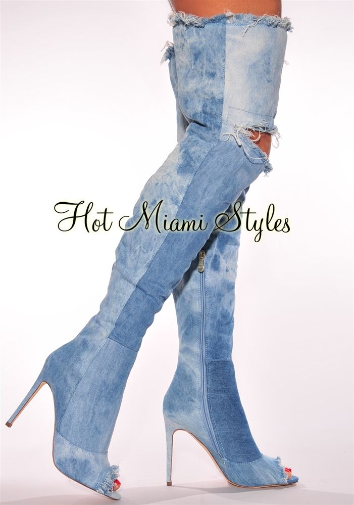 dd92a1e7a0db Washed Denim Ripped Knee High Heel Boots in 2019