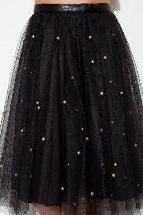 The Girl That Loves Siyah Üzeri İncili Tül Etek: Lidyana.com