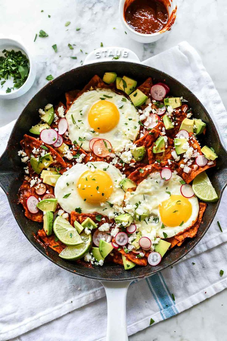 Easy Chilaquiles with Eggs Recipe   foodiecrush.com #chilaquiles #breakfast #brunch #mexican