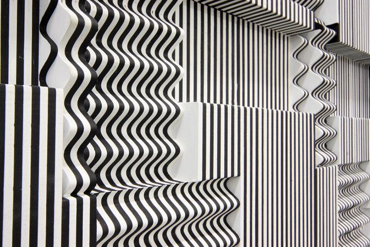Ara Peterson  Untitled (Black and White Panel), 2008 (detail)  Wood and acrylic paint  46 x 62.5 x 3.25 inches