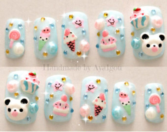 Kawaii nails, kuma uñas 3D, uñas japonesas, verano, pastel, azul aqua, oso, panda, helado, torta, fairy kei clavos
