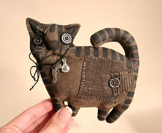 Примитивный черный сердитый Кот любитель подарок народного искусства тряпичная кукла