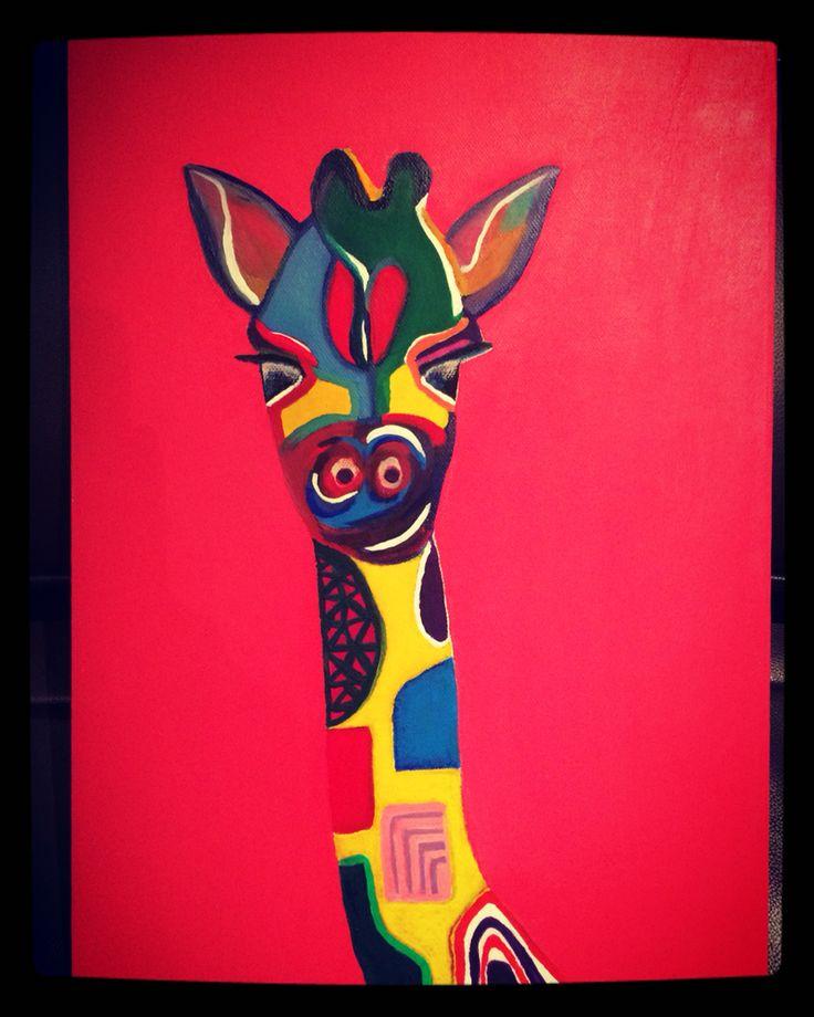 Jirafa pintada con oleo