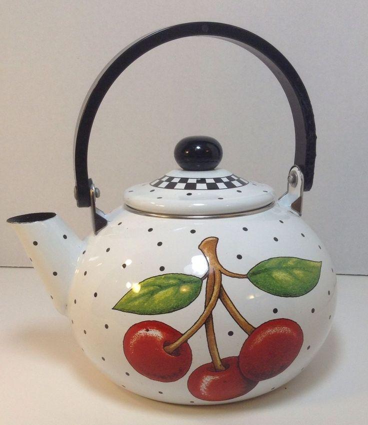 Teapot Mary Engelbreit Cherry Cameo Decorative Metal ME Teapot Lid 2001