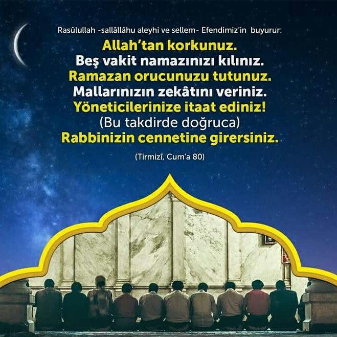 ☝  Rabbinize karşı gelmekten sakının, beş vakit namazınızı kılın, Ramazan orucunuzu tutun, mallarınızın zekâtını verin, yöneticilerinize itaat edin. Böylelikle Rabbinizin cennetine girersiniz. [Tirmizî, Cum'a, 80.]  #emir #vakit #namaz #ramazan #oruç #zekat #hac #yönetici #itaat #cennet #islam #müslüman #ilmisuffa