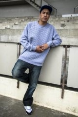 Grey Marle Quilted Crew