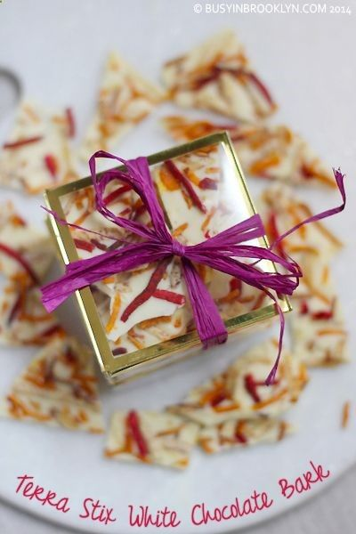 white chocolate bark with Terra Stix Chips - a beautiful homemade food gift thats salty  sweet!
