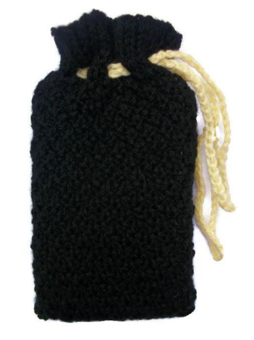 Tarot card bag Black pouch Hand knitted by thekittensmittensuk, £11.00