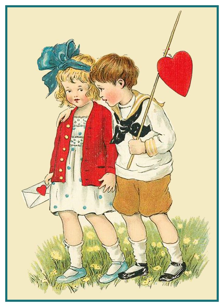 Boy Giving Girl  a Valentine Ellen Clapsaddle Counted Cross Stitch Pattern