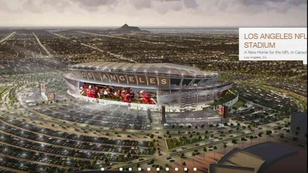 An architectural rendering of the $1.7-billion stadium proposed by the Oakland Raiders and San Diego Chargers to be potentially built in Carson.