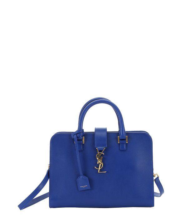 Saint Laurent cobalt blue leather small \u0026#39;Cabas Monogram ...