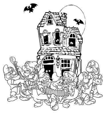 halloween colorings disney the seven dwarves halloween coloring page snow white disney - Halloween Coloring Pages Disney