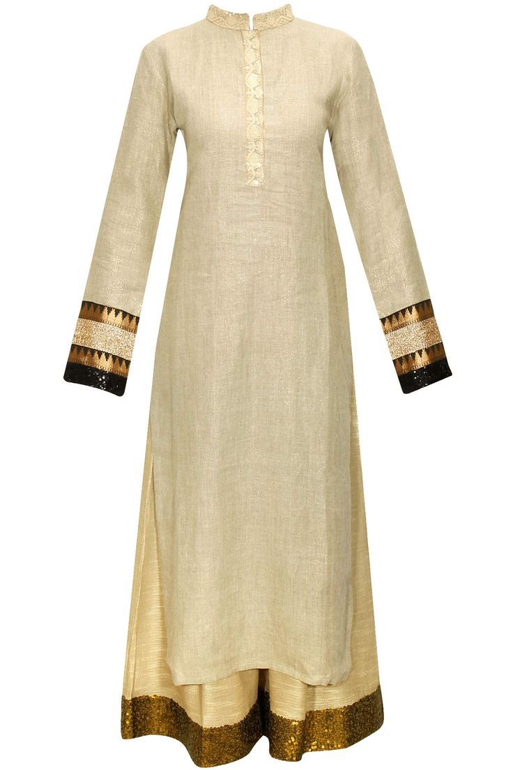 Beige embroidered kurta with shimmer sequins pants by Vikram Phadnis. Shop at: http://www.perniaspopupshop.com/designers/vikram-phadnis #kurta #shibori #pants #vikramphadnis #shopnow #perniaspopupshop